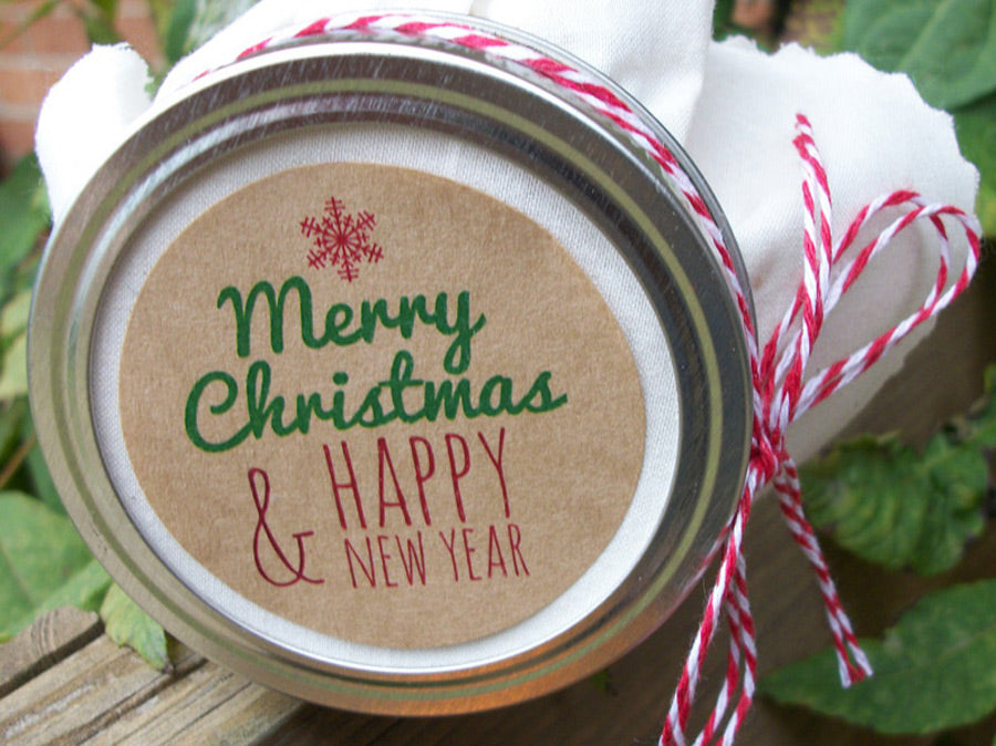 Merry Christmas Labels.Kraft Merry Christmas New Year Labels