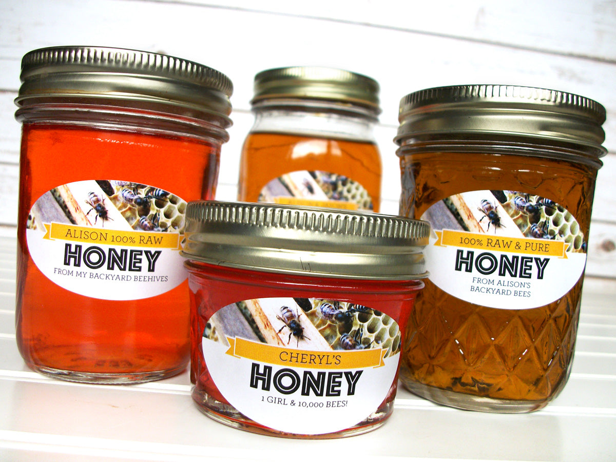 Oval Busy Bees Custom Honey Labels | CanningCrafts.com
