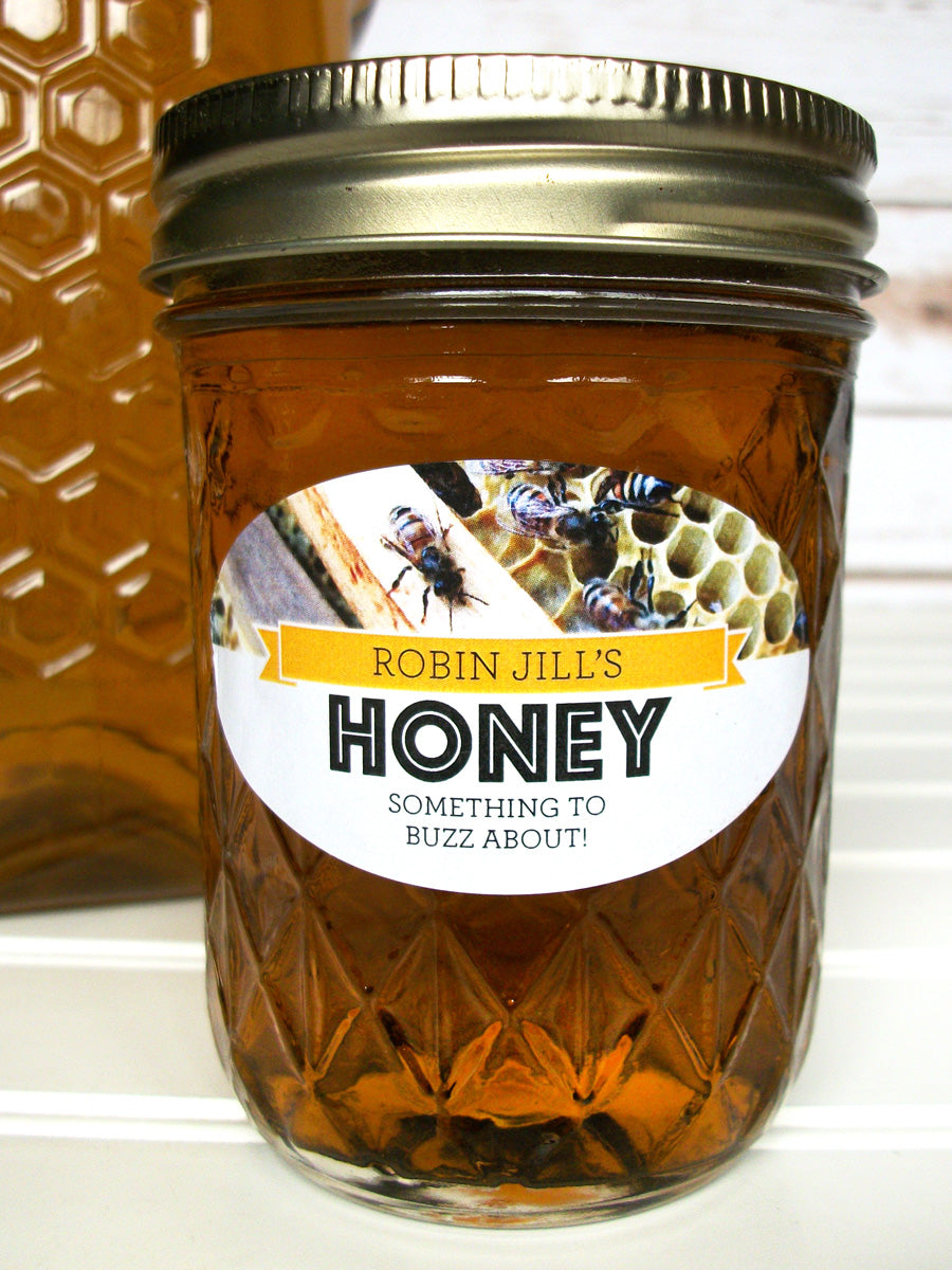 Oval Busy Bees Custom Honey Jar Labels | CanningCrafts.com
