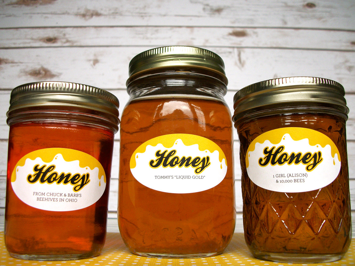 Oval Liquid Gold Custom Honey Jar Labels | CanningCrafts.com