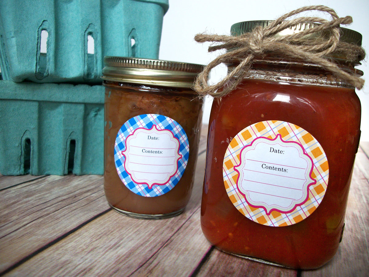 Pastel Plaid Canning Jar Labels | CanningCrafts.com