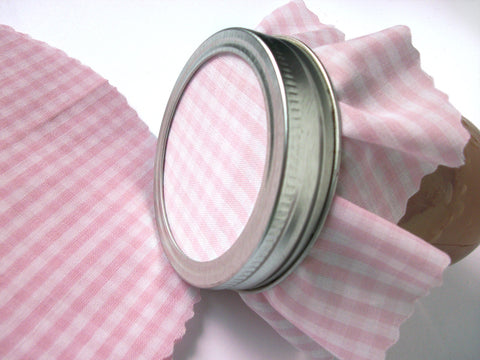 Pastel Pink Gingham Jam Jar Covers | CanningCrafts.com
