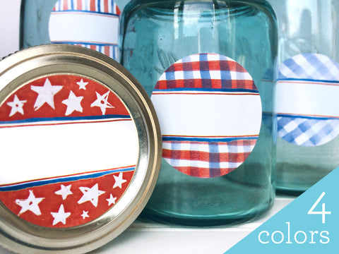 Patriotic Watercolor Canning Labels for home preserved jam and jelly | CanningCrafts.com