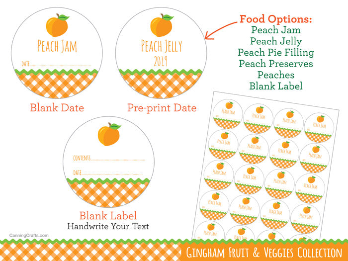 Gingham Peach Canning Labels | CanningCrafts.com