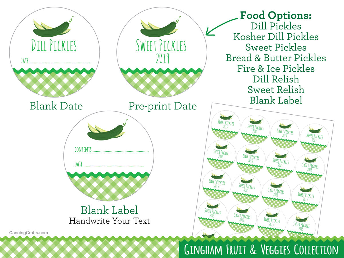 Gingham Dill Pickle & Relish Canning Jar Labels | CanningCrafts.com