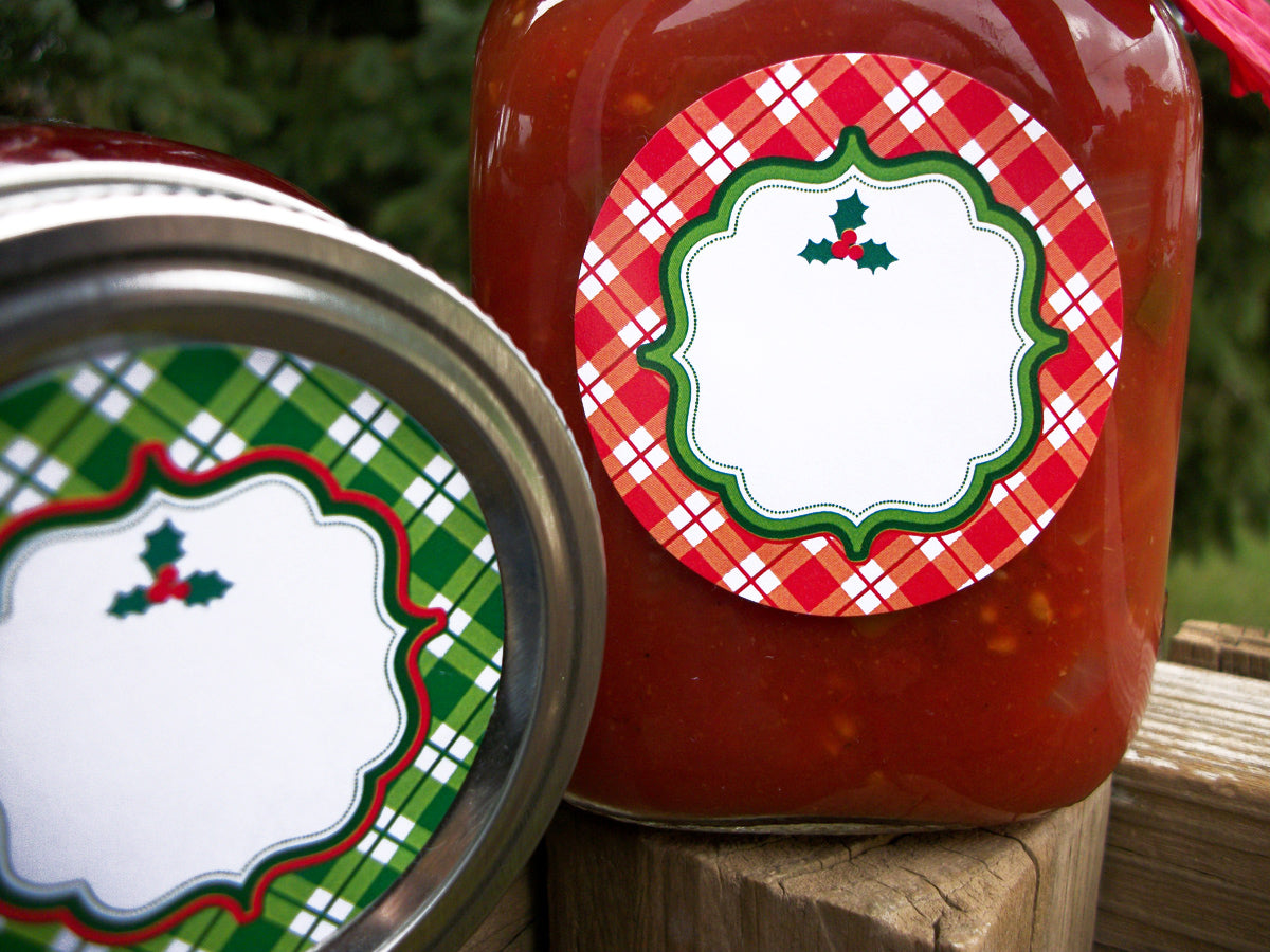 Red & Green Plaid Christmas Canning Labels | CanningCrafts.com