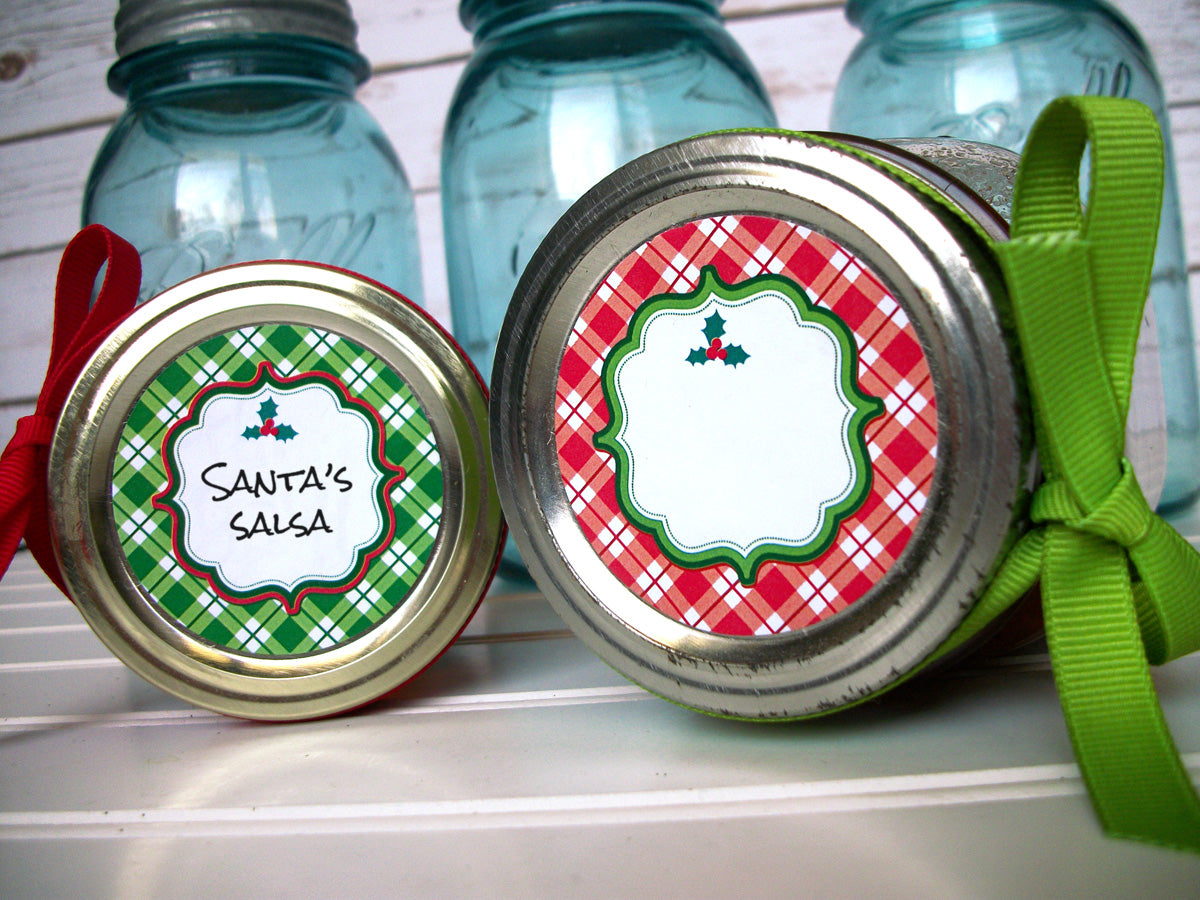 Plaid Red & Green Christmas Labels