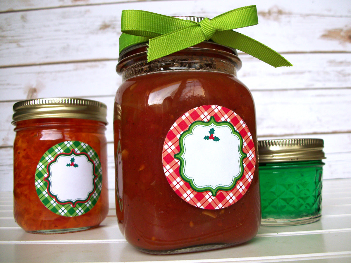 Red & Green Plaid Christmas Canning Jar Labels | CanningCrafts.com