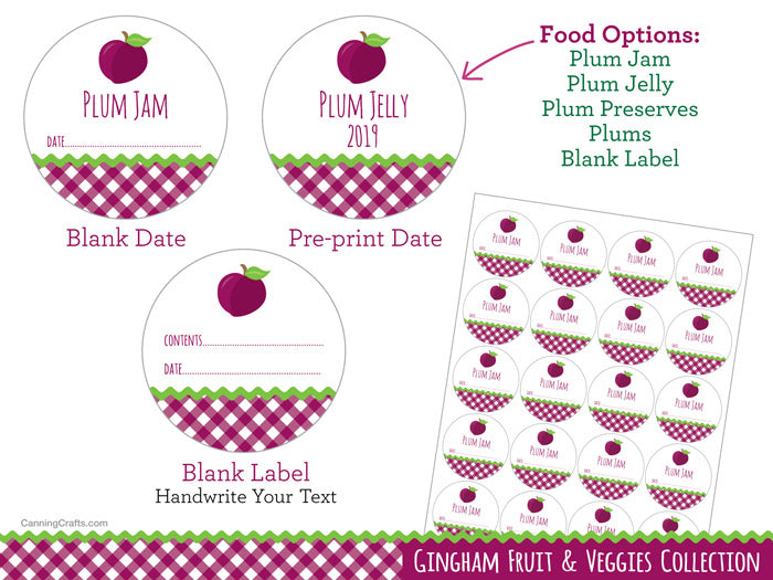 Gingham Plum Canning Jar Labels | CanningCrafts.com
