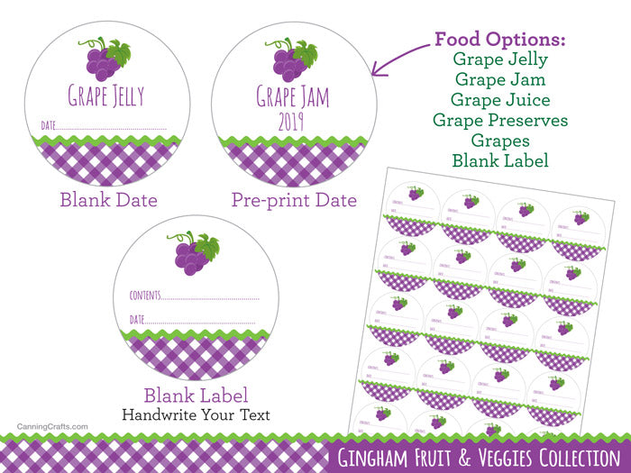 Gingham Purple Grape Canning Labels | CanningCrafts.com