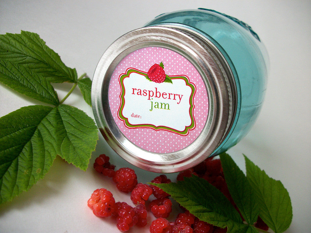 Red Raspberry Jam Canning Jar Labels | CanningCrafts.com