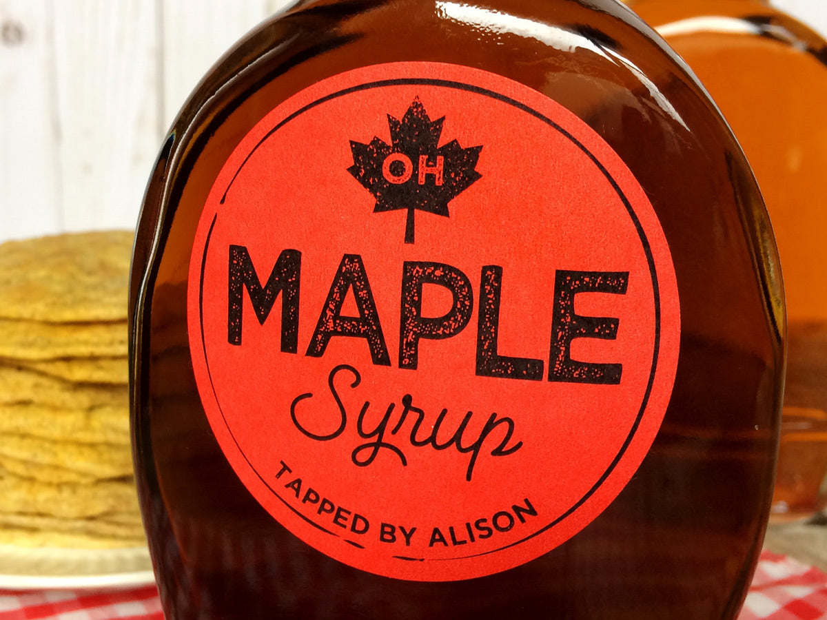Custom Red Artisanal Maple Syrup Bottle Labels | CanningCrafts.com