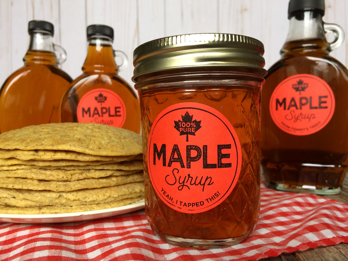 Custom Red Artisanal Maple Syrup Labels for bottles & mason jars | CanningCrafts.com