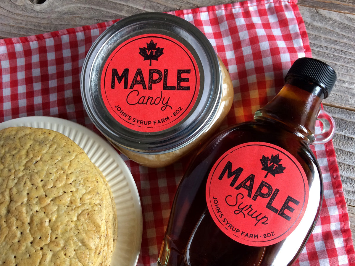 Custom Red Artisanal Maple Syrup Labels | CanningCrafts.com