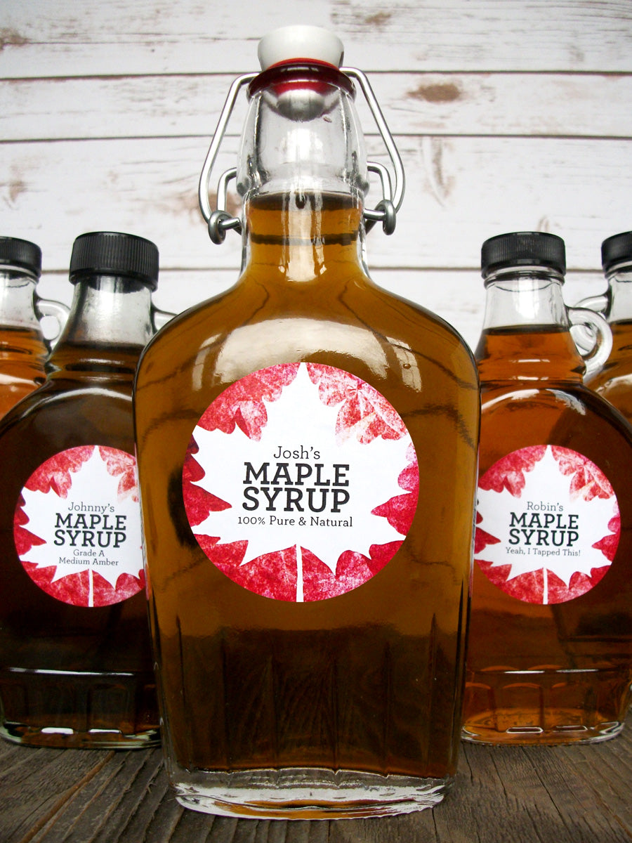 Custom Red Leaf Maple Syrup Bottle Labels | CanningCrafts.com