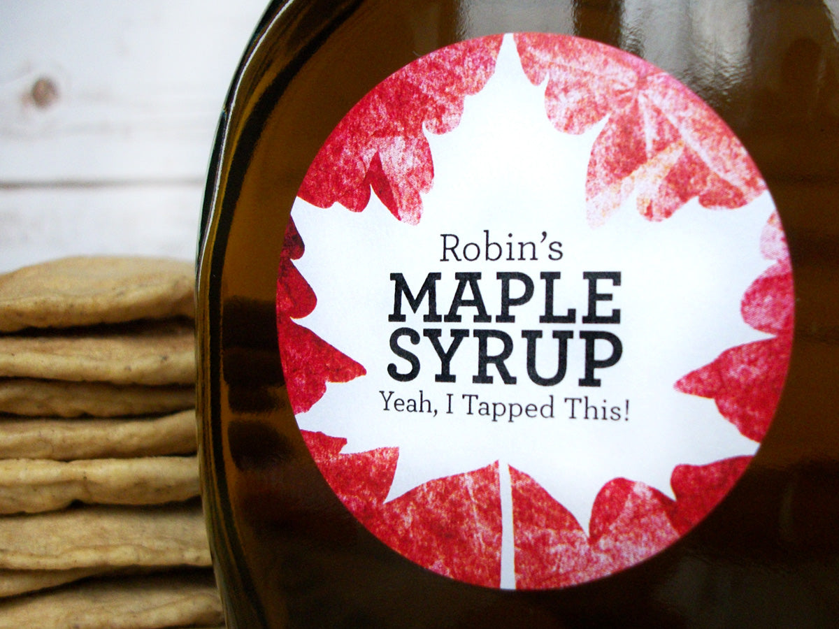 Custom Red Leaf Maple Syrup Labels | CanningCrafts.com