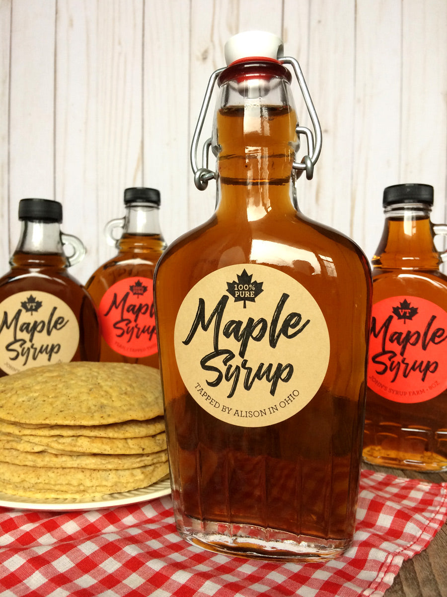 Custom Red & Kraft Robust Maple Syrup Labels | CanningCrafts.com