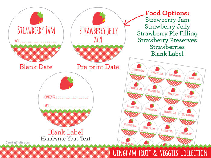 Gingham Strawberry Canning Jar Labels | CanningCrafts.com