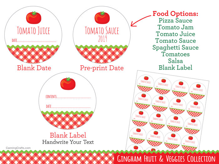 Gingham Tomato Canning Jar Labels | CanningCrafts.com