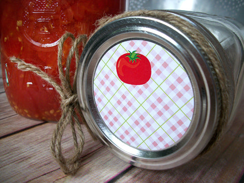 Plaid Tomato Canning Labels | CanningCrafts.com
