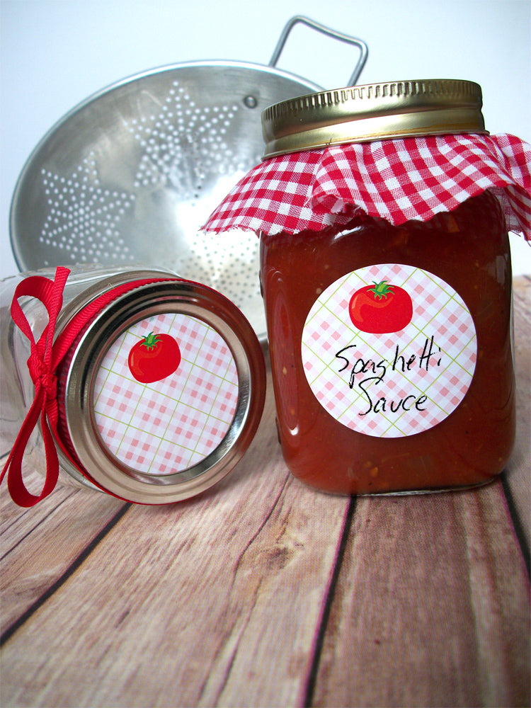 Plaid Tomato Canning Jar Labels | CanningCrafts.com