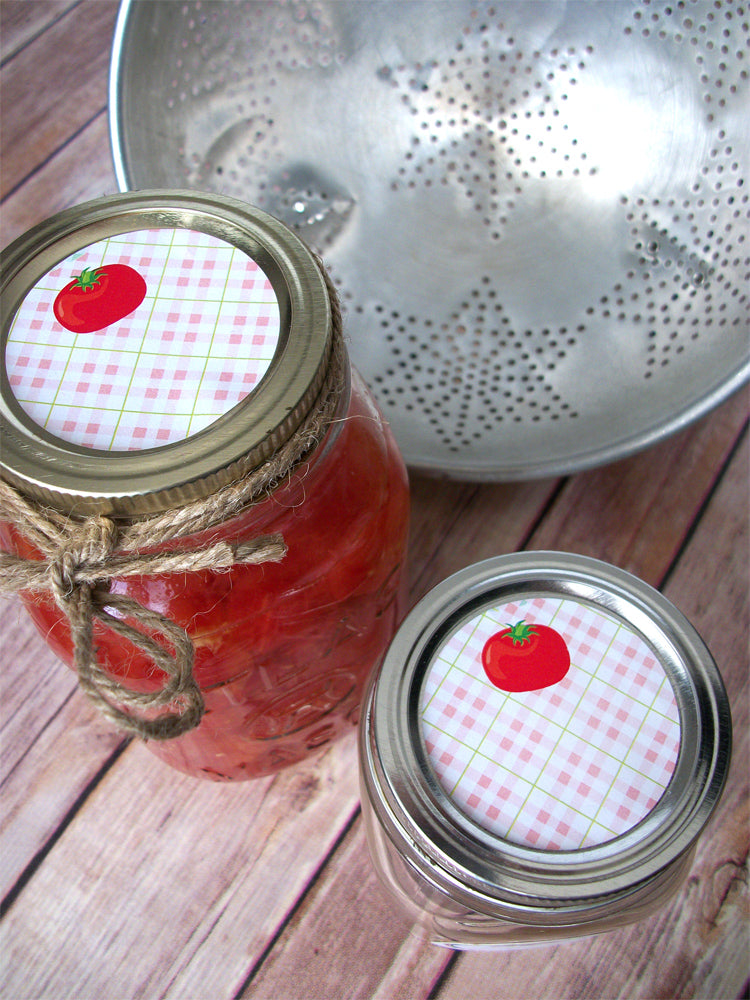 Plaid Tomato Salsa & Sauce Canning Labels | CanningCrafts.com