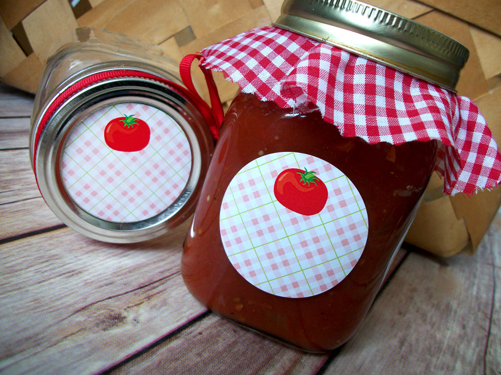 Plaid Vegetable Canning Labels