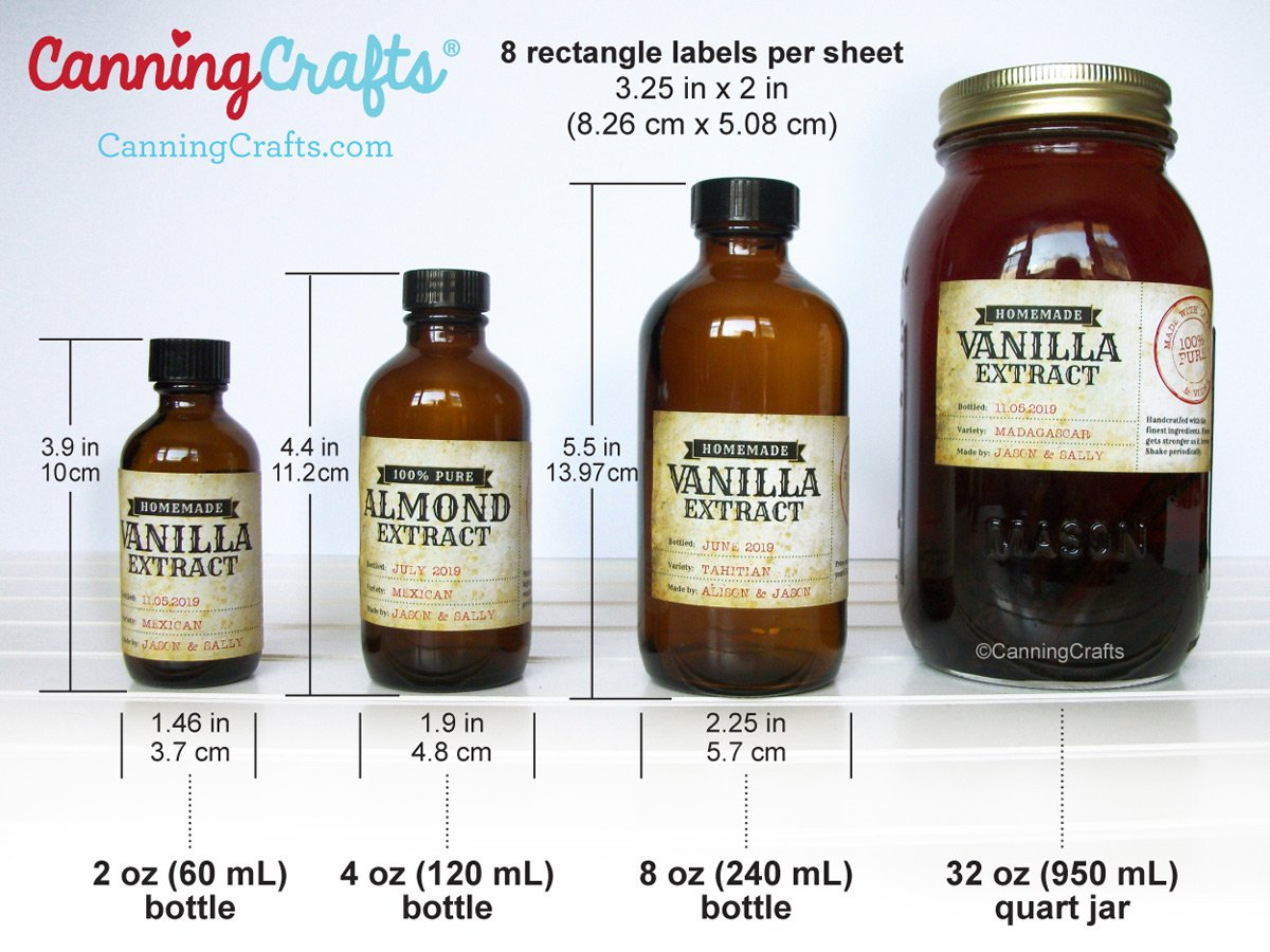 Vanilla Extract Rectangle Bottle Label Size Chart | CanningCrafts.com