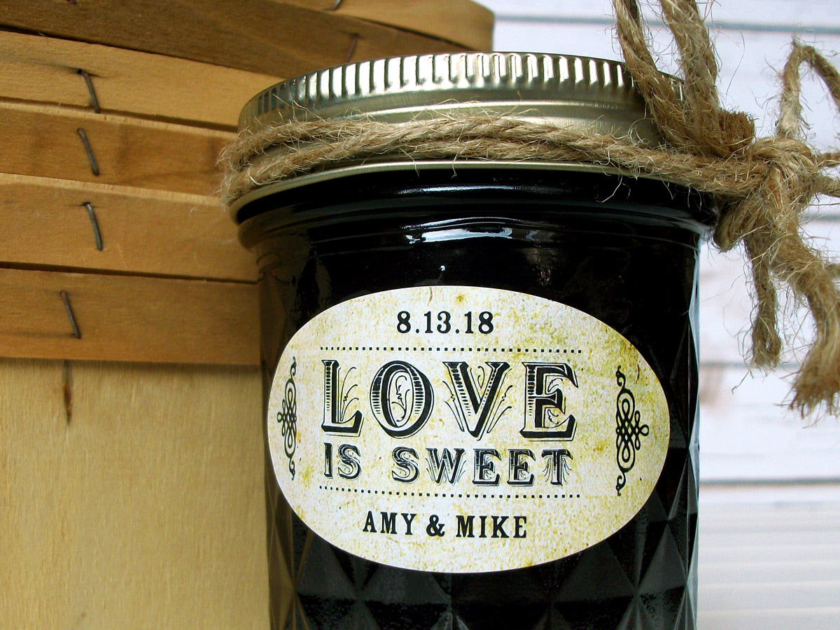 Vintage Oval Love is Sweet wedding favor jar labels | CanningCrafts.com