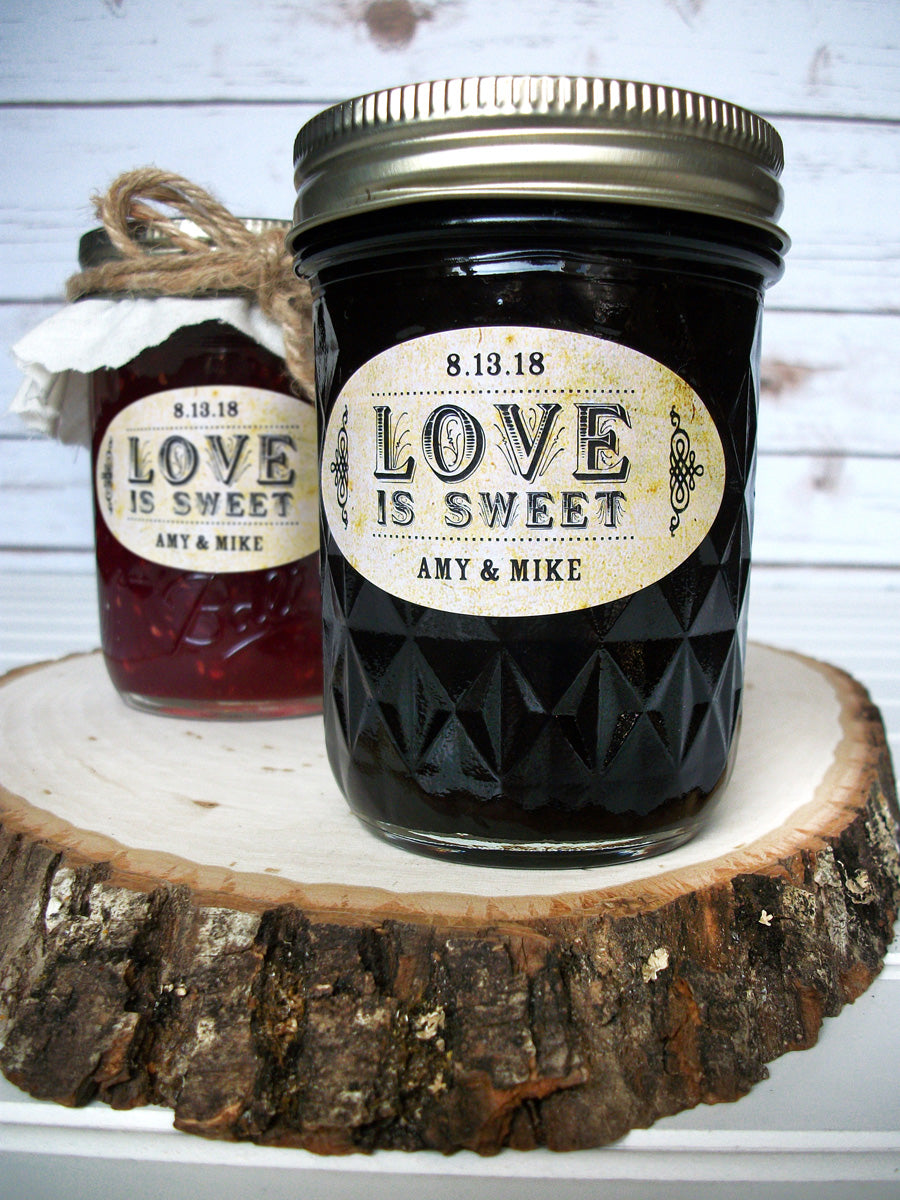 Vintage Oval Love is Sweet wedding jam jar favor labels | CanningCrafts.com