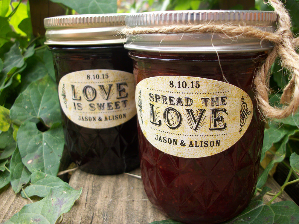 vintage oval spread the or love is sweet wedding favor jam