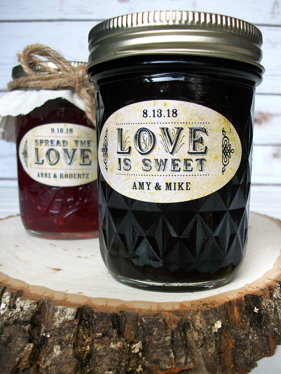 Vintage Oval Spread the or Love is Sweet wedding jam jar favor labels | CanningCrafts.com
