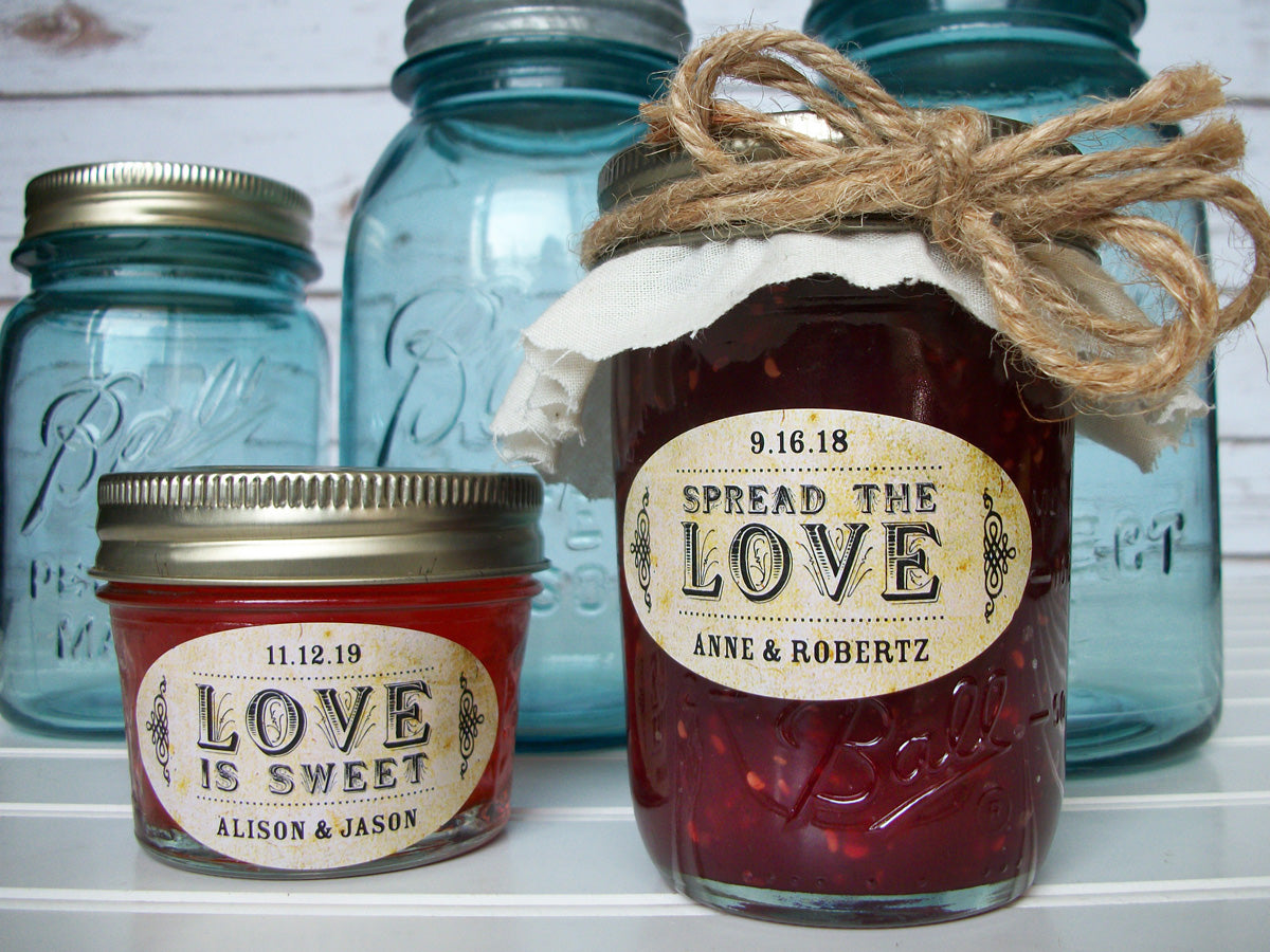 Vintage Oval Spread the or Love is Sweet wedding jam jar labels | CanningCrafts.com