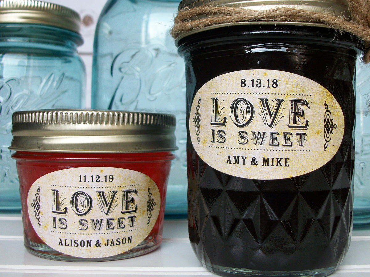 Vintage Oval Love is Sweet wedding canning labels | CanningCrafts.com