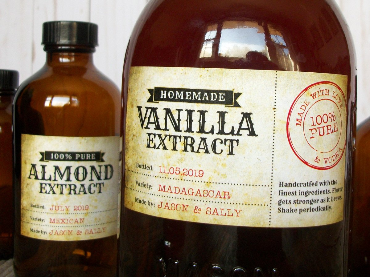 Vintage Almond & Vanilla Extract Rectangle Bottle Labels | CanningCrafts.com