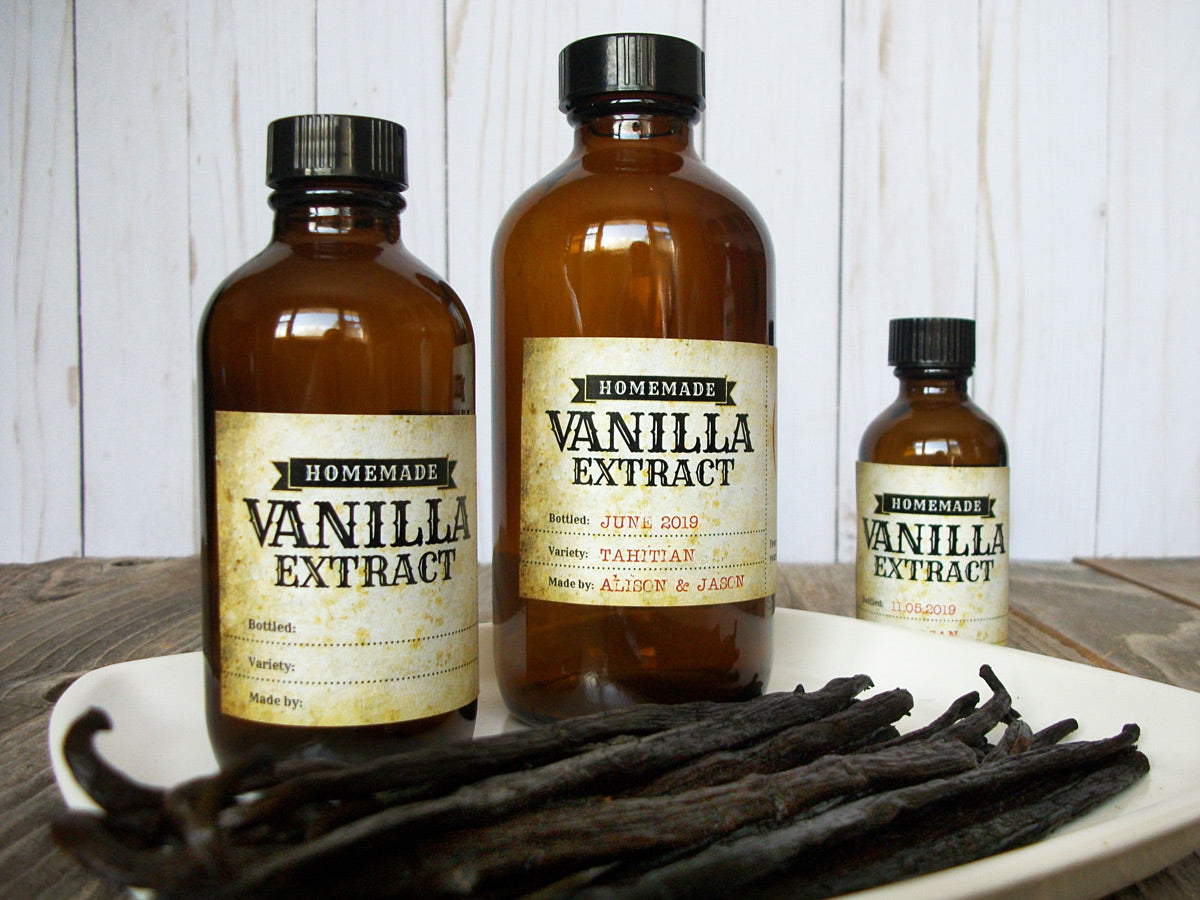 Vintage Vanilla Extract Rectangle Bottle Labels | CanningCrafts.com