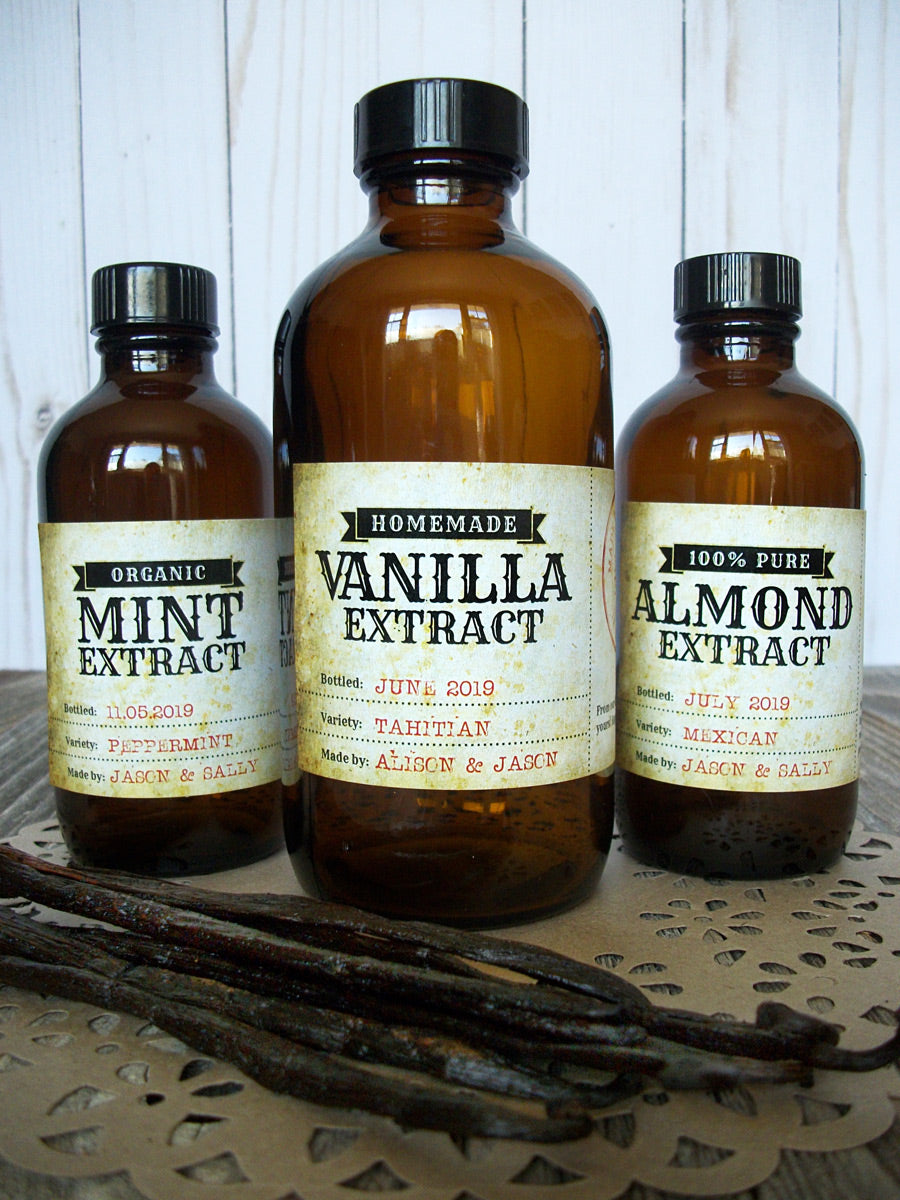 Vintage Mint, Almond & Vanilla Extract Rectangle Bottle Labels | CanningCrafts.com