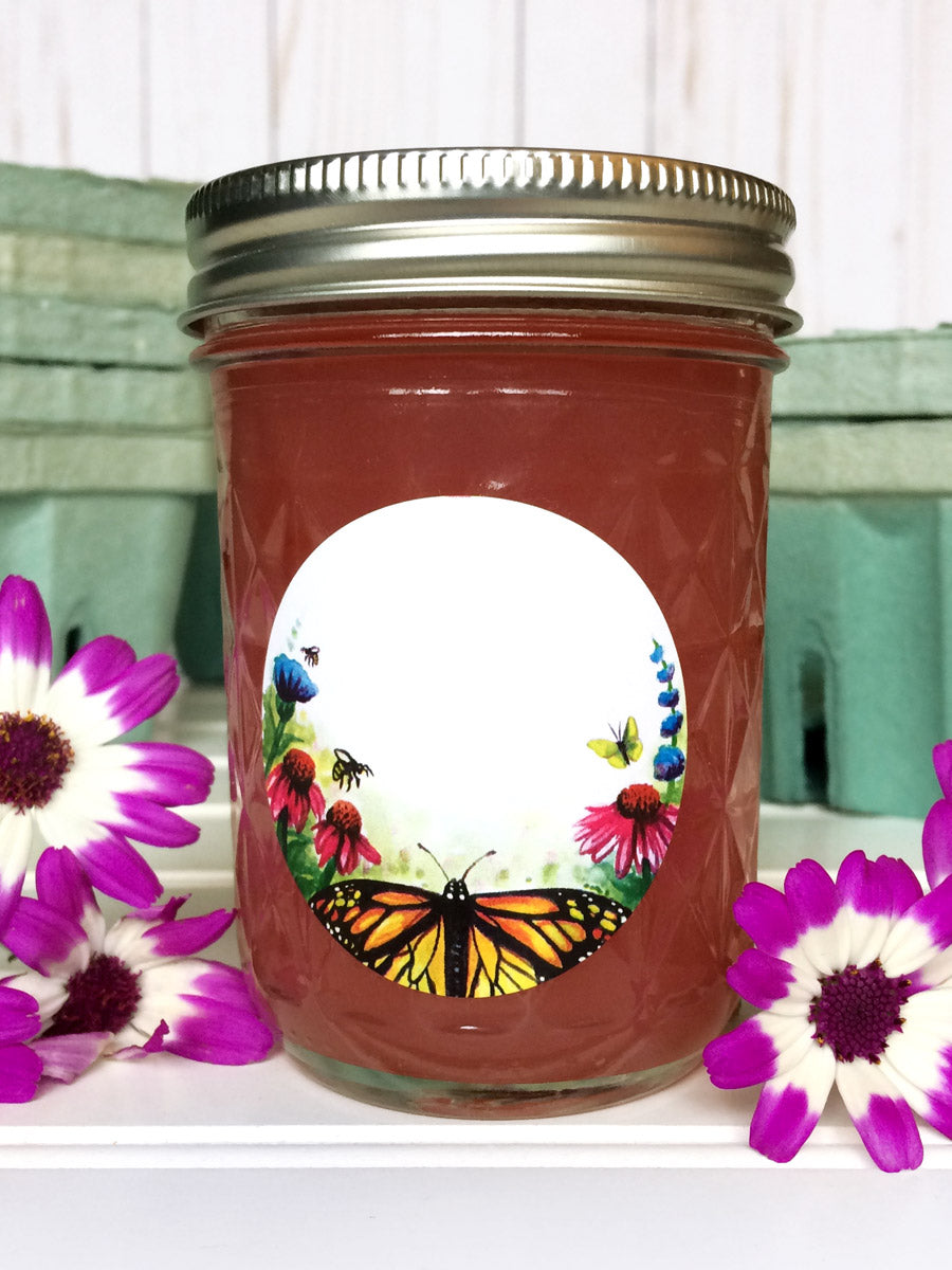 Watercolor Flower Butterfly Jam & Jelly Canning Jar Labels | CanningCrafts.com