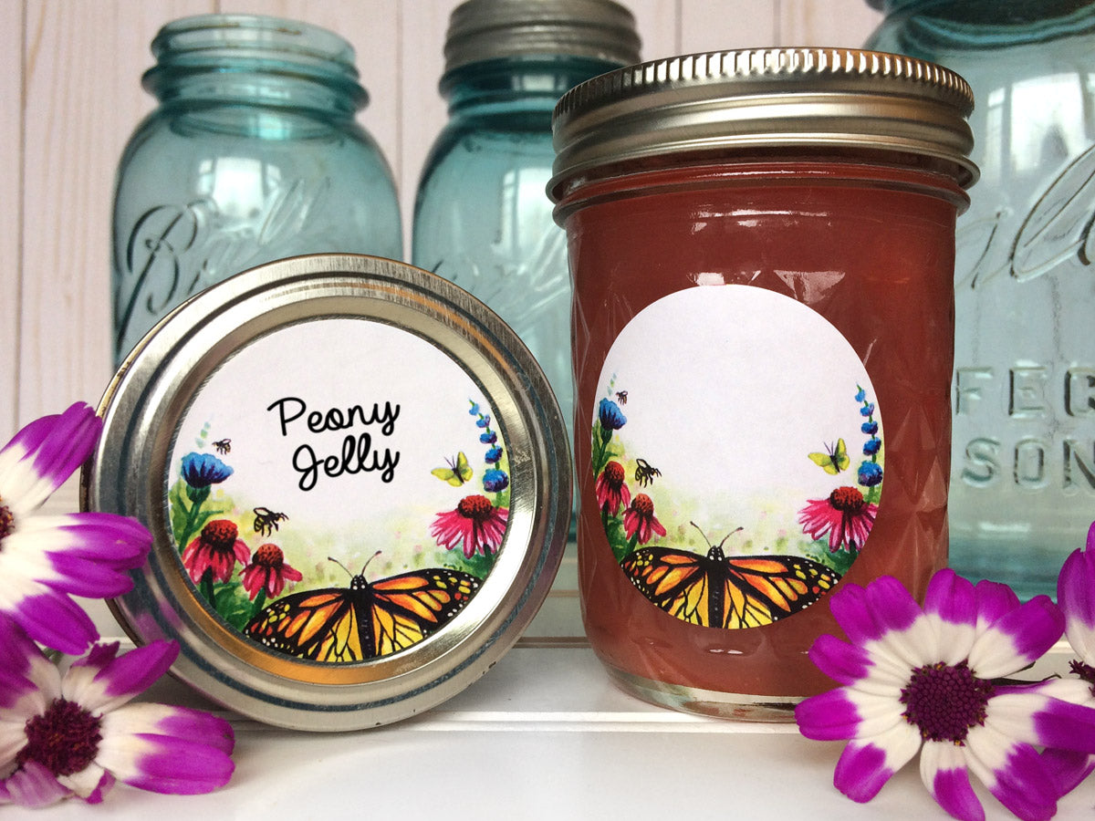 Watercolor Flower Butterfly Jam Jar Labels | CanningCrafts.com