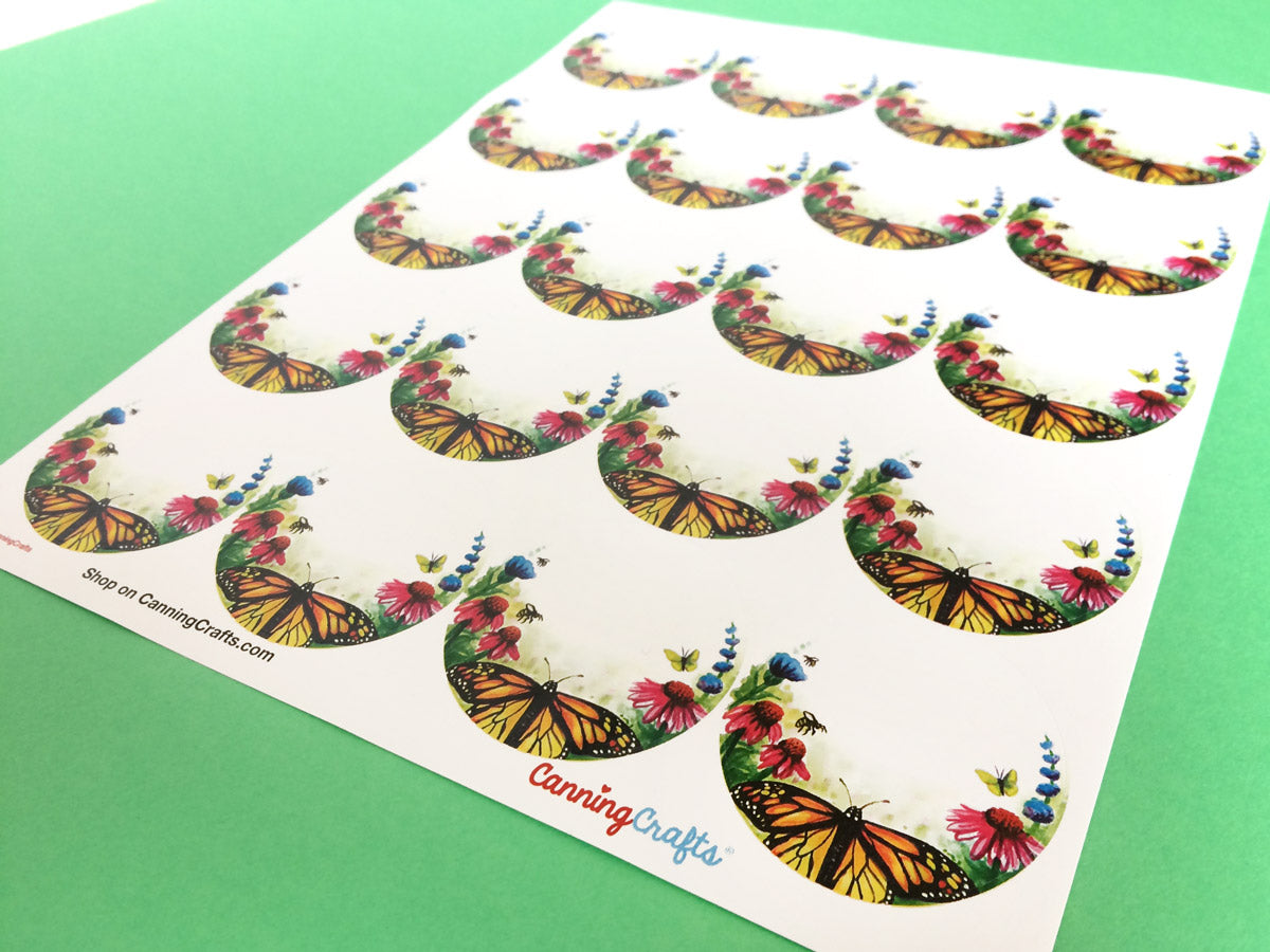 Watercolor Flower Butterfly Canning Labels | CanningCrafts.com
