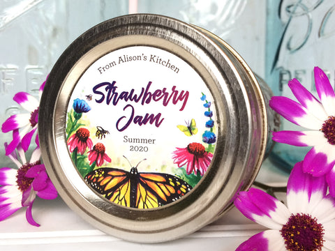 Custom Watercolor Butterfly Canning Labels | CanningCrafts.com
