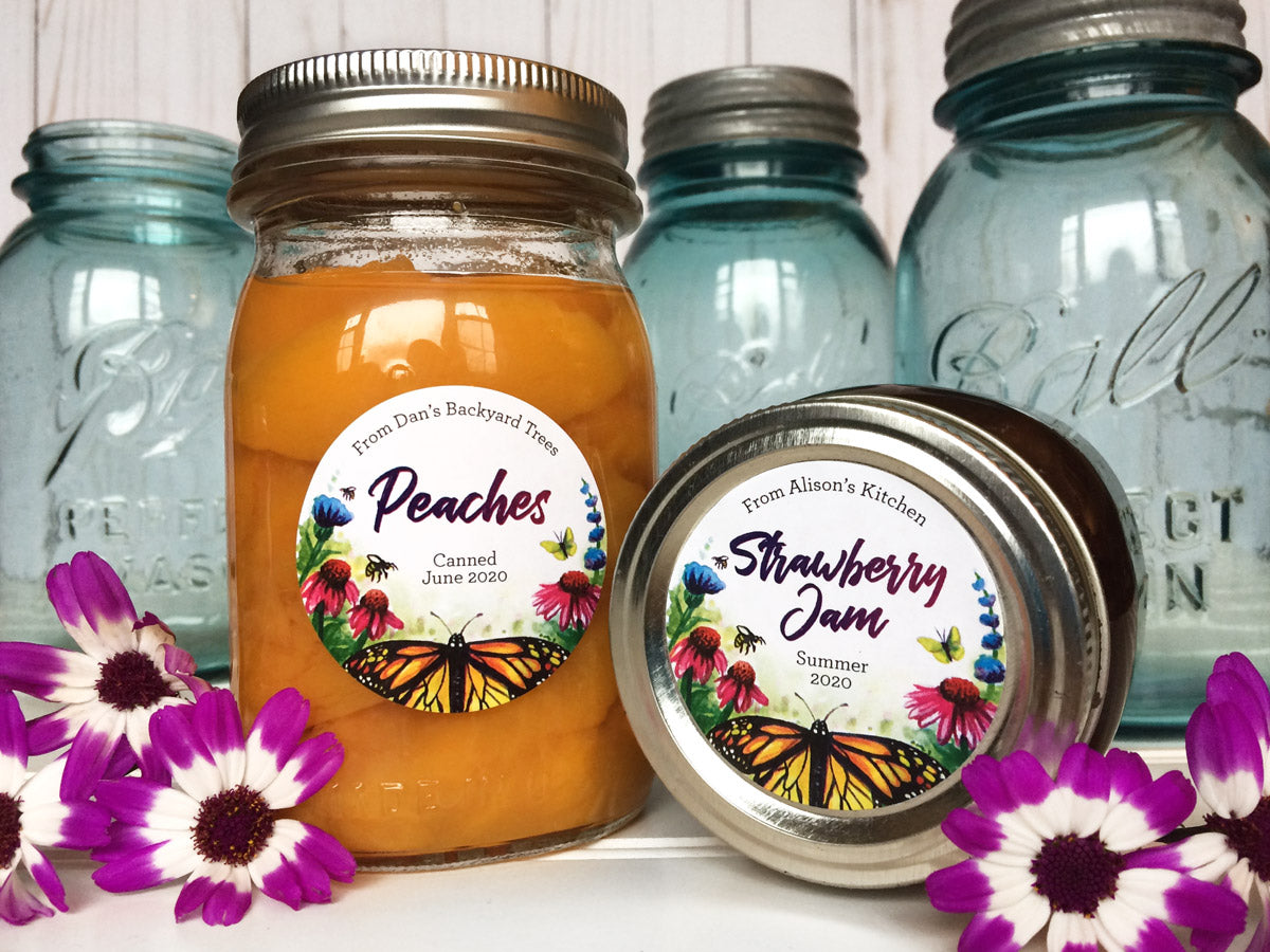 Custom Watercolor Butterfly Canning Labels for jam & jelly | CanningCrafts.com