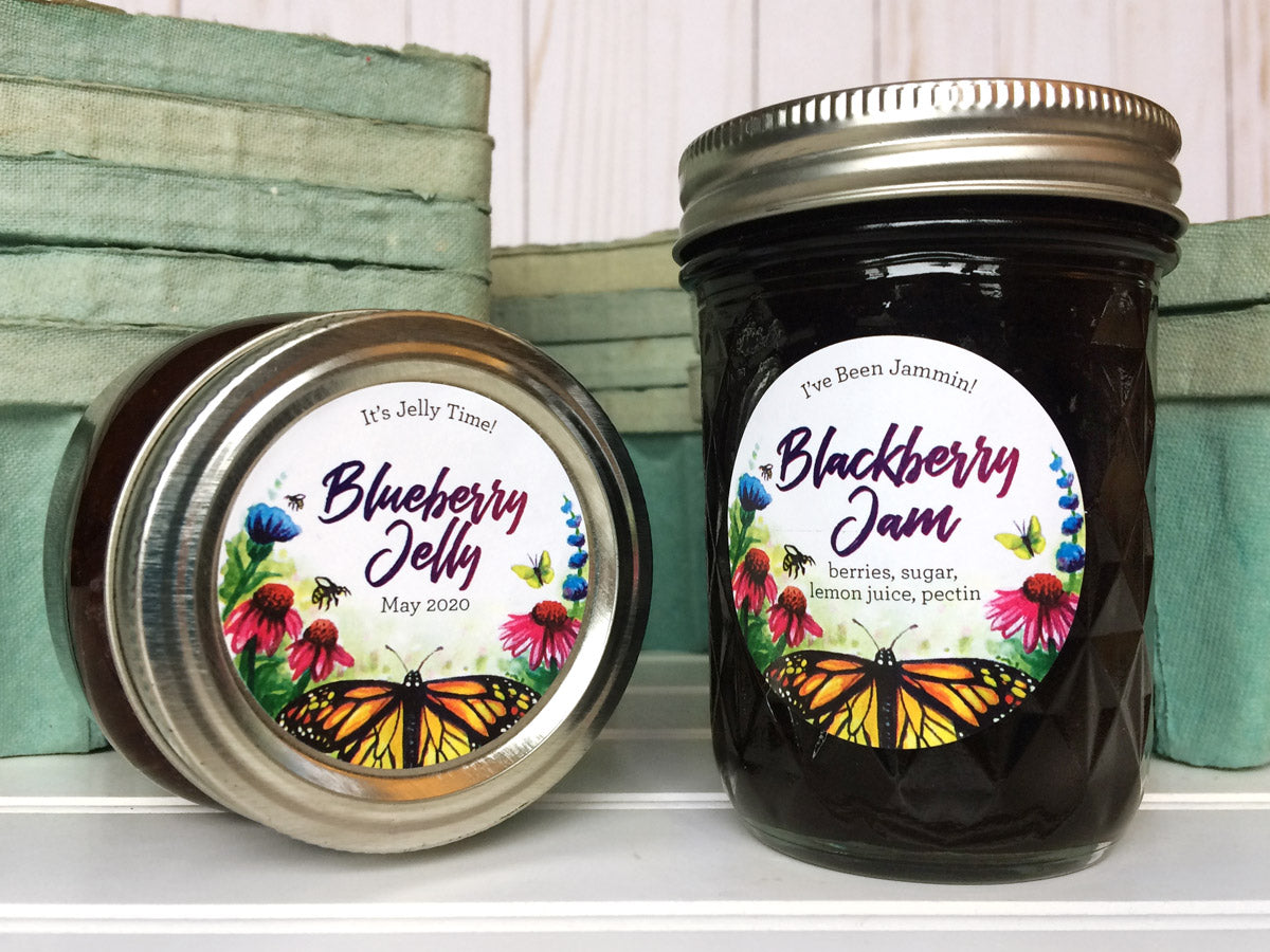 Custom Watercolor Butterfly Jam & Jelly Canning Jar Labels | CanningCrafts.com