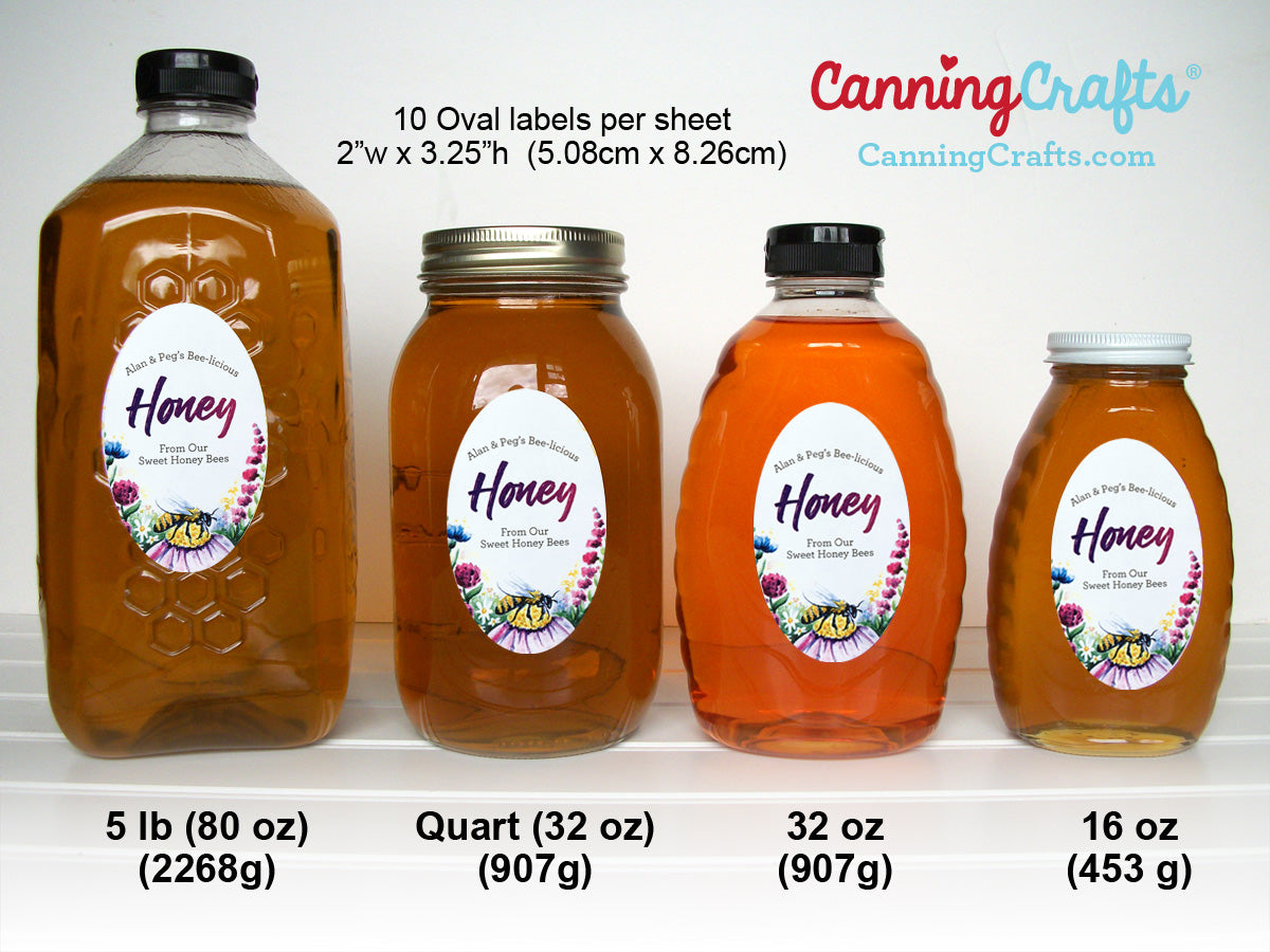Custom oval honey label bottle size chart | CanningCrafts.com