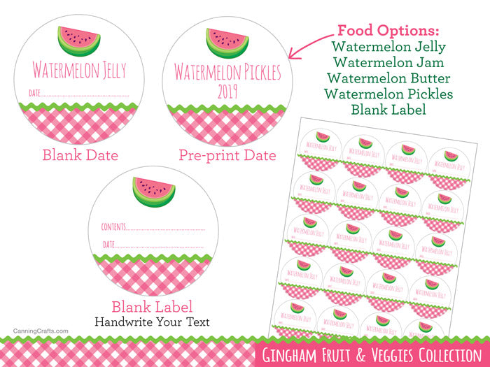 Gingham Watermelon Canning Labels for Jam, Jelly, Butter, & Rind Pickles | CanningCrafts.com