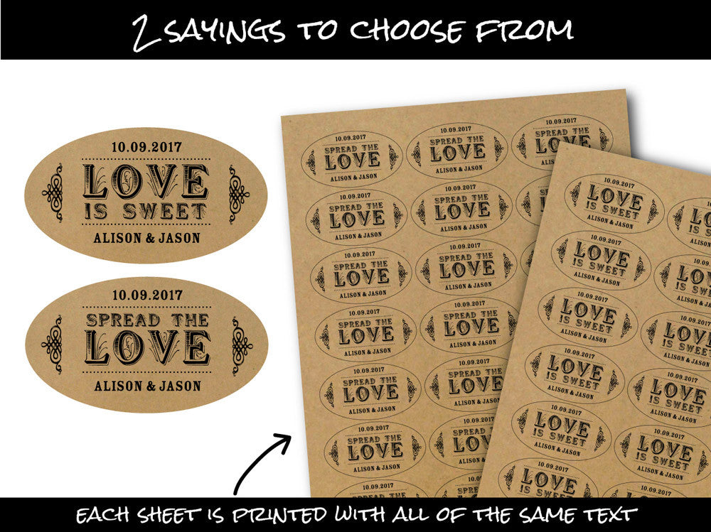 Spread the Love & Love is Sweet kraft oval wedding labels | CanningCrafts.com