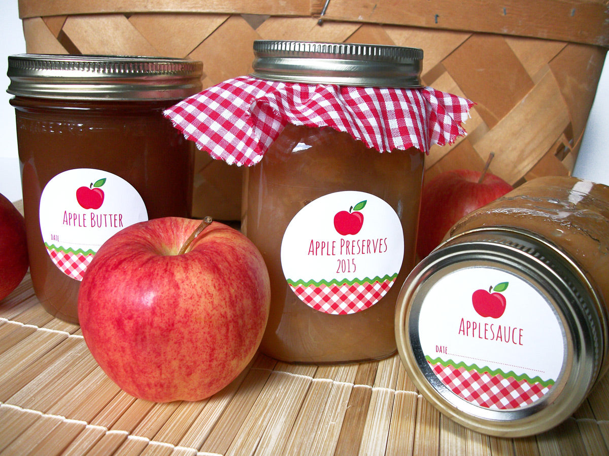 Gingham Applesauce & Apple Butter Canning Jar Labels | CanningCrafts.com