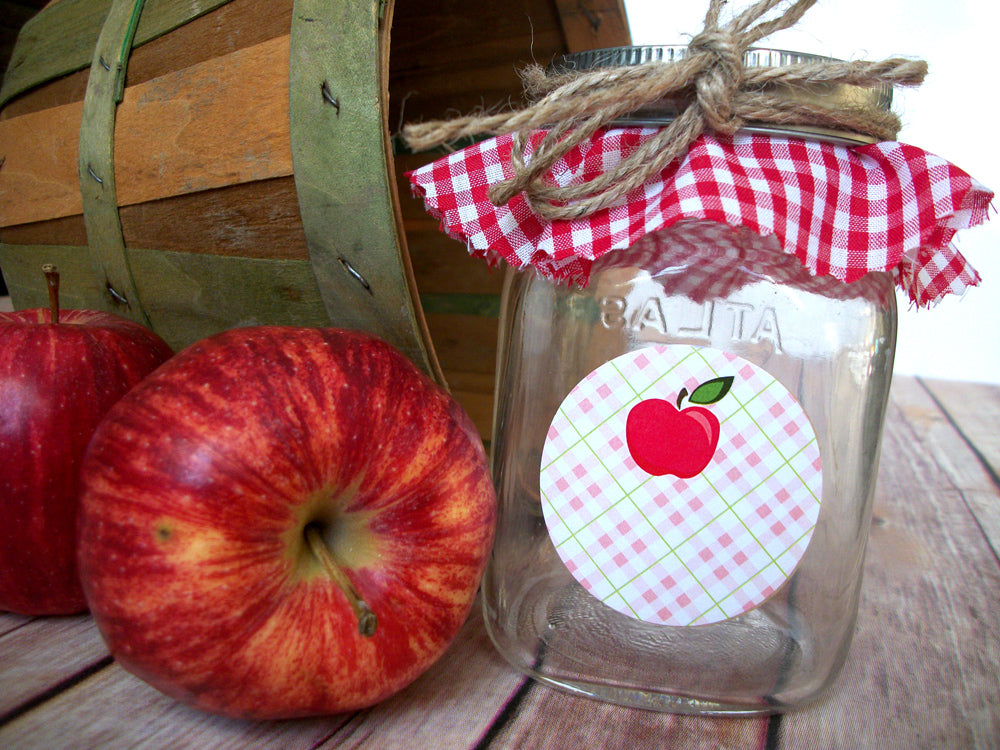 Plaid Apple Canning Labels | CanningCrafts.com