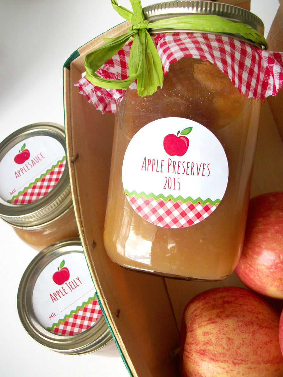 Gingham Apple Preserves Canning Jar Labels | CanningCrafts.com