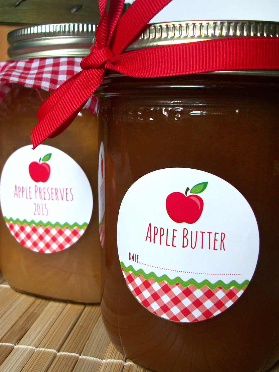 Gingham Apple Butter Canning Jar Labels | CanningCrafts.com